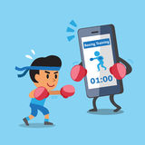 Cartoon smartphone helping a man to do boxing training Stock Photo