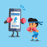 Cartoon smartphone helping a man to do boxing training Royalty Free Stock Photo
