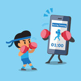 Cartoon smartphone helping man to do boxing training Royalty Free Stock Photo