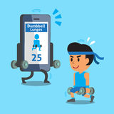 Cartoon smartphone helping a man to do dumbbell lunges exercise Royalty Free Stock Photography