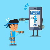 Cartoon smartphone helping a man to do front dumbbell raise exercise Stock Photography