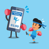Cartoon smartphone helping a man to do kickboxing training Stock Images