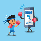 Cartoon smartphone helping man to do uppercut punch training. For design Stock Image