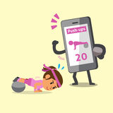 Cartoon smartphone helping a woman to do ball exercise push-ups Royalty Free Stock Images