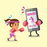 Cartoon smartphone helping a woman to do boxing training Stock Photos