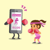 Cartoon smartphone helping a woman to do boxing training Stock Photo