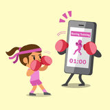 Cartoon smartphone helping woman to do boxing training Stock Photo