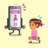 Cartoon smartphone helping a woman to do dumbbell lunge exercise Royalty Free Stock Photo