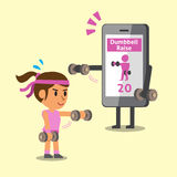 Cartoon smartphone helping a woman to do front dumbbell raise exercise Royalty Free Stock Photo