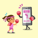 Cartoon smartphone helping woman to do uppercut punch training. For design Royalty Free Stock Photos