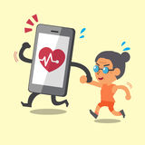 Cartoon smartphone jogging with old woman Stock Photography