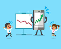 Cartoon smartphone make business much more profitable Stock Photo