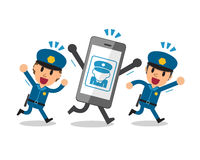 Cartoon smartphone and policemen Royalty Free Stock Images