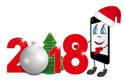 Cartoon Smartphone in red Santa Claus hat. 2018 number with Christmas tree and bauble. Vector Stock Photos