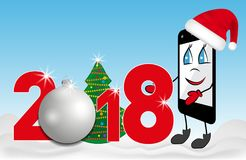 Cartoon Smartphone in red Santa Claus hat. 2018 number with Christmas tree and bauble. Vector Royalty Free Stock Image