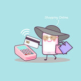Cartoon smartphone shopping online Royalty Free Stock Images