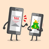 Cartoon smartphone with tax letter call money from smartphone with money bag. For design Stock Photography