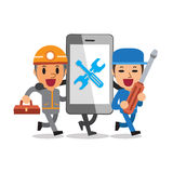 Cartoon smartphone with technicians Stock Images