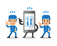 Cartoon smartphone and technicians Royalty Free Stock Photos