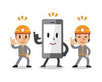 Cartoon smartphone with technicians Royalty Free Stock Photo