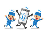 Cartoon smartphone and technicians Royalty Free Stock Photo