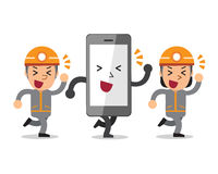 Cartoon smartphone with technicians Royalty Free Stock Image