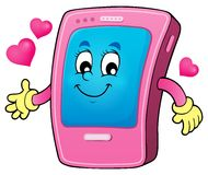 Cartoon smartphone theme 2 Royalty Free Stock Photo