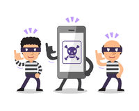 Cartoon smartphone with thieves Royalty Free Stock Photo