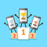Cartoon smartphone winners standing on podium with trophies. For design Stock Photography