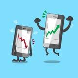 Cartoon smartphones with stock market arrows Royalty Free Stock Photo