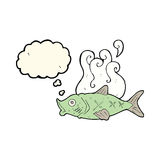 Cartoon smelly fish with thought bubble Royalty Free Stock Images