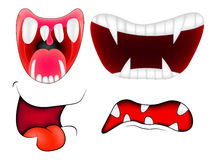 Cartoon smile, mouth, lips with teeth set. vector mesh illustration isolated on white background Royalty Free Stock Photography