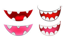 Cartoon smile, mouth, lips with teeth set. vector mesh illustration  on white background Stock Images