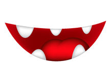 Cartoon smile, mouth, lips with teeth and tongue. vector illustration isolated on white background Royalty Free Stock Photography