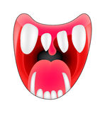 Cartoon smile, mouth, lips with teeth and tongue. vector illustration isolated on white background Royalty Free Stock Image