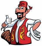 A cartoon smiled mustached, bearded cook chef character doing a thumbs up gesture in turkish traditional costume, vector cartoon c. Haracter, isolated on white royalty free illustration