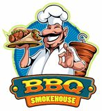 A cartoon smiled mustached cook chef character holding a kebab and grilled meat and doing a perfect gesture, vector cartoon charac. Ter vector illustration