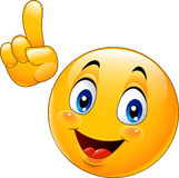 Cartoon smiley emoticon making a point Stock Photography
