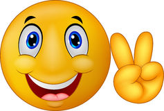 Cartoon Smiley emoticon with v sign Royalty Free Stock Image