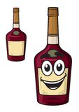 Cartoon  smiling alcohol bottle Stock Images