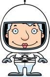 Cartoon Smiling Astronaut Woman Royalty Free Stock Photo