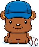 Cartoon Smiling Baseball Player Bear Stock Photos