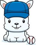 Cartoon Smiling Baseball Player Bunny Royalty Free Stock Photos