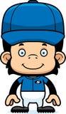 Cartoon Smiling Baseball Player Chimpanzee Stock Photography