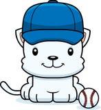 Cartoon Smiling Baseball Player Kitten Stock Images