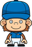Cartoon Smiling Baseball Player Monkey Royalty Free Stock Photos