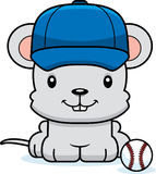 Cartoon Smiling Baseball Player Mouse Stock Photography