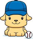 Cartoon Smiling Baseball Player Puppy Stock Photo