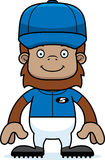 Cartoon Smiling Baseball Player Sasquatch Royalty Free Stock Image