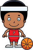 Cartoon Smiling Basketball Player Boy Royalty Free Stock Photo